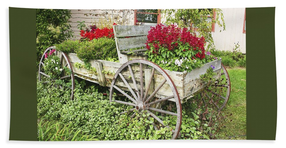 Wagon Bath Sheet featuring the photograph Flower Wagon by Margie Wildblood