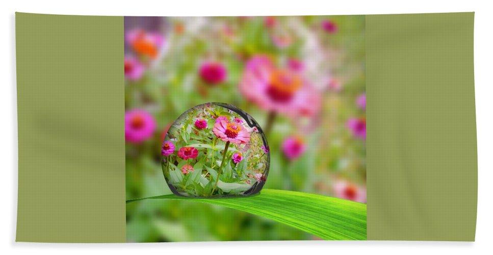 Flower In Water Drop Bath Sheet featuring the photograph Flowerdrop by Debra White