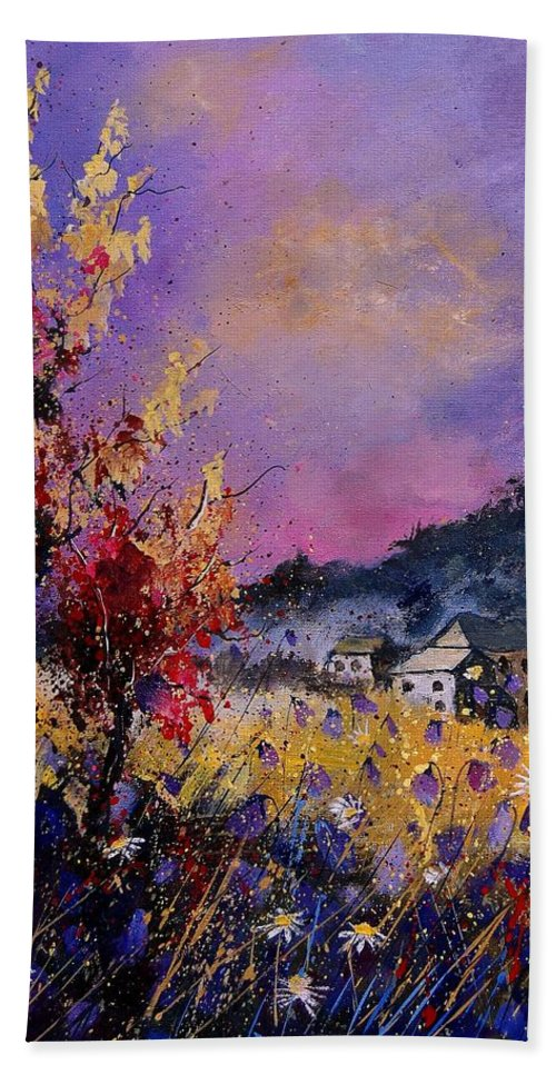 Bath Towel featuring the painting Flowered Landscape 569070 by Pol Ledent