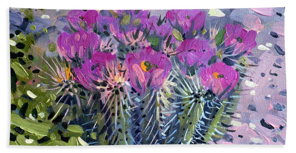 Flowering Cactus Bath Sheet featuring the painting Flowering Cactus by Donald Maier