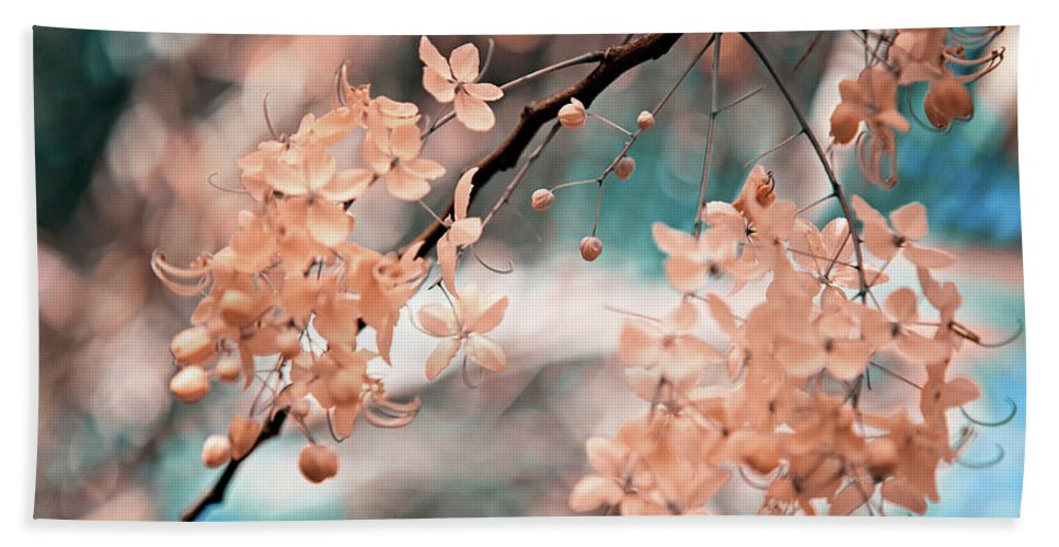 Jenny Rainbow Fine Art Photography Hand Towel featuring the photograph Flowering Tree. Nature In Alien Skin by Jenny Rainbow