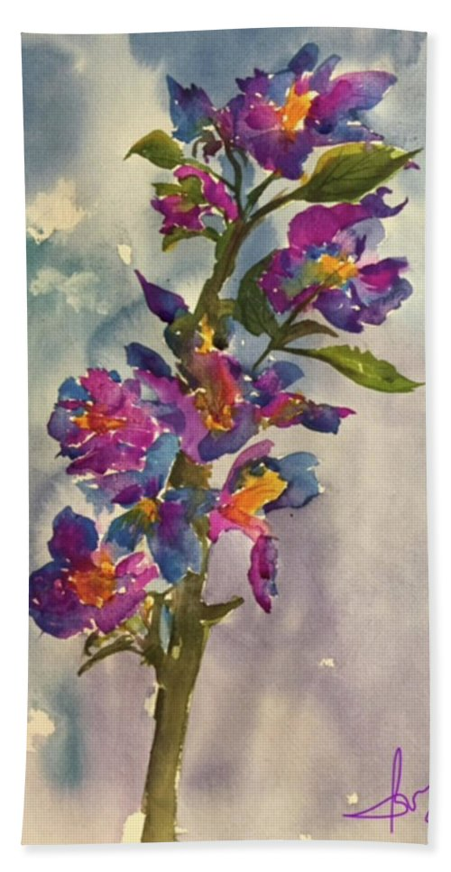 Floral Hand Towel featuring the painting She Blooms by Bonny Butler
