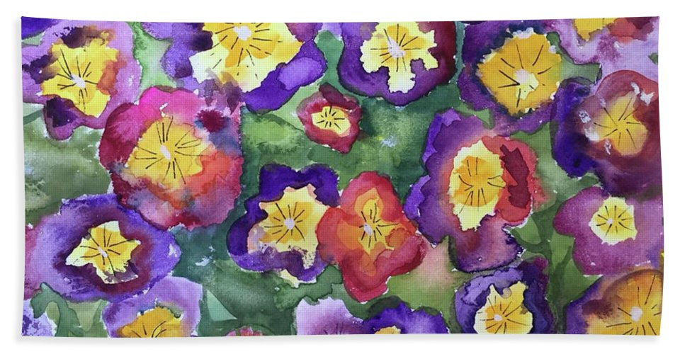 Floral Hand Towel featuring the painting Pansy Party by Bonny Butler