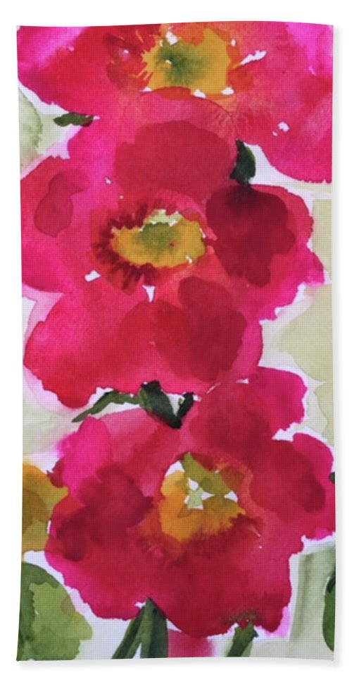 Poppies Hand Towel featuring the painting Happiness Blooms by Bonny Butler