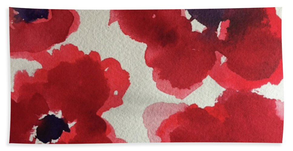 Poppy Hand Towel featuring the painting Poppy Happiness by Bonny Butler