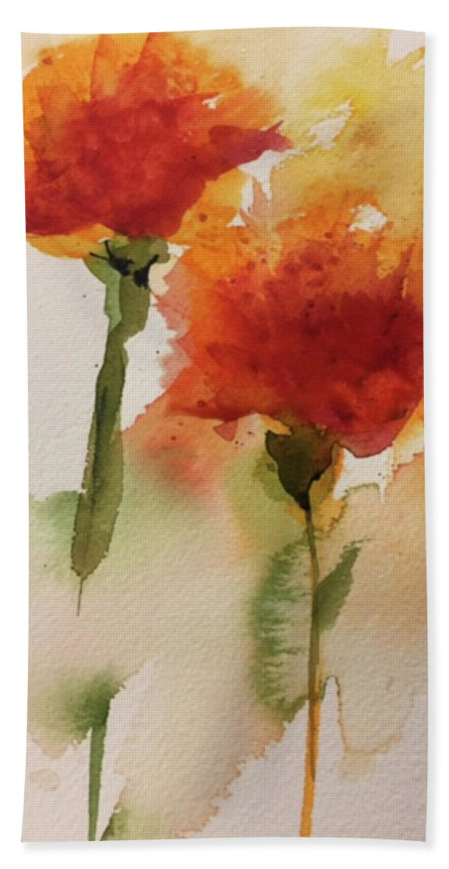 Floral Hand Towel featuring the painting Dance In The Wind by Bonny Butler