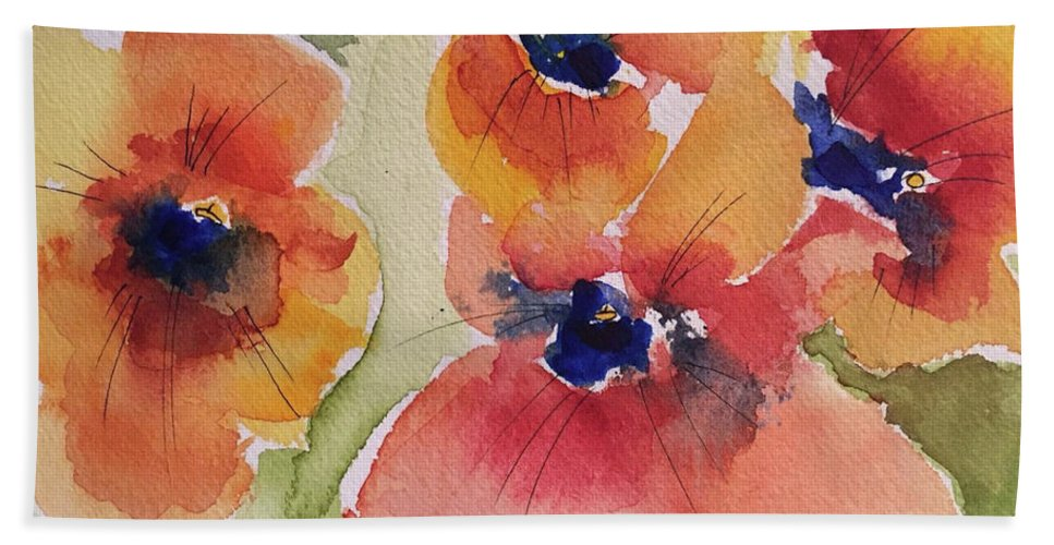 Poppy Bath Sheet featuring the painting Simpler Is Sweeter by Bonny Butler