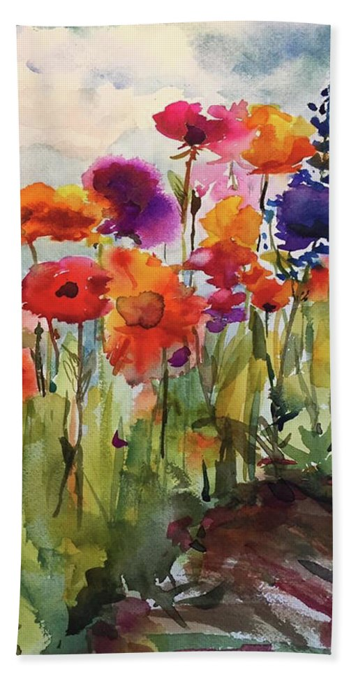 Wildflowers Bath Sheet featuring the painting Wildflower Trail by Bonny Butler