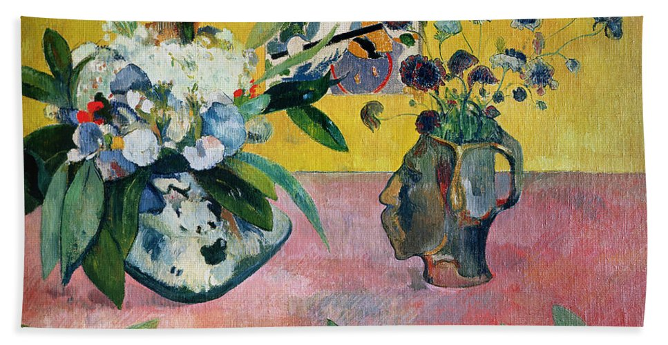 Gauguin Bath Sheet featuring the painting Flowers And A Japanese Print by Paul Gauguin