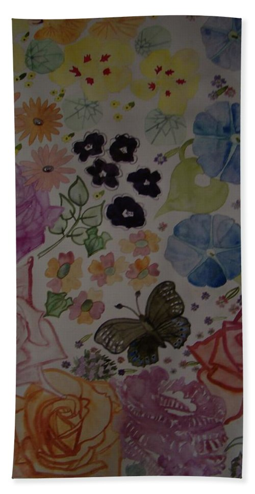 Floral Bath Sheet featuring the painting Flowers And Butterfly by Amy Elizabeth Macione