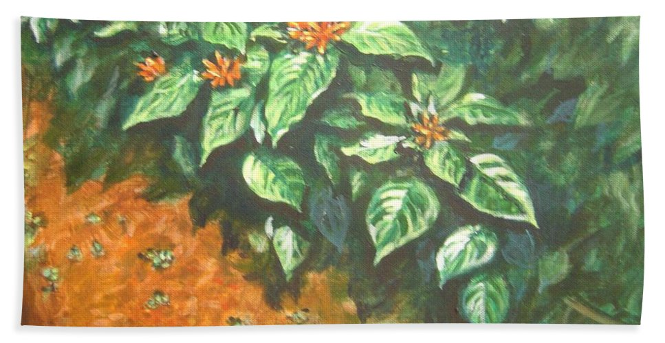 Orange Bath Towel featuring the painting Flowers And Earth by Usha Shantharam