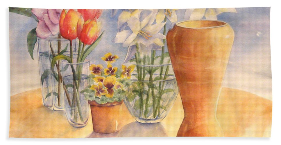 Watercolor Bath Towel featuring the painting Flowers And Terra Cotta by Debbie Lewis