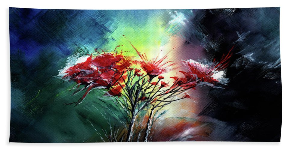 Nature Hand Towel featuring the painting Flowers by Anil Nene