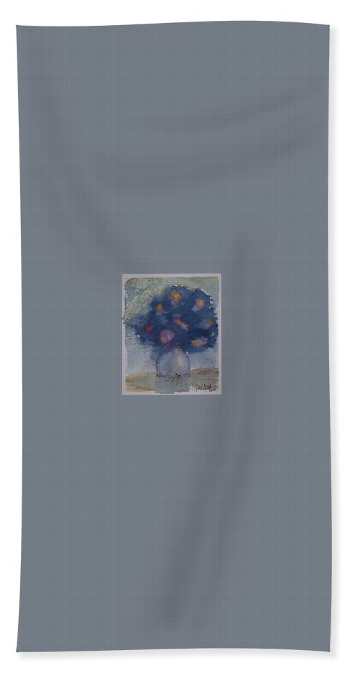 Watercolor Hand Towel featuring the painting FLOWERS AT NIGHT original abstract gothic surreal art by Derek Mccrea