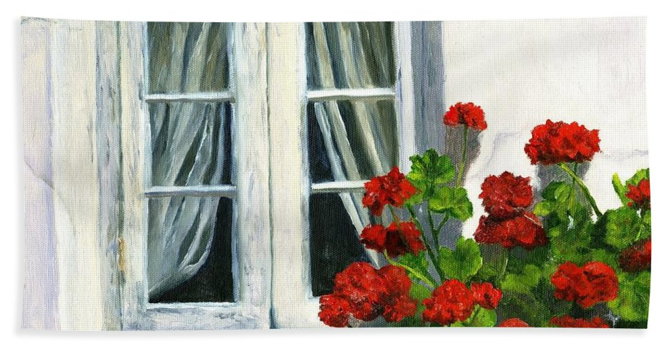 Floral Hand Towel featuring the painting Flowers At The Window by Deborah Butts