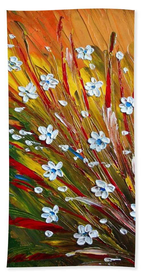 Flowers Hand Towel featuring the painting Flowers Field by Luiza Vizoli