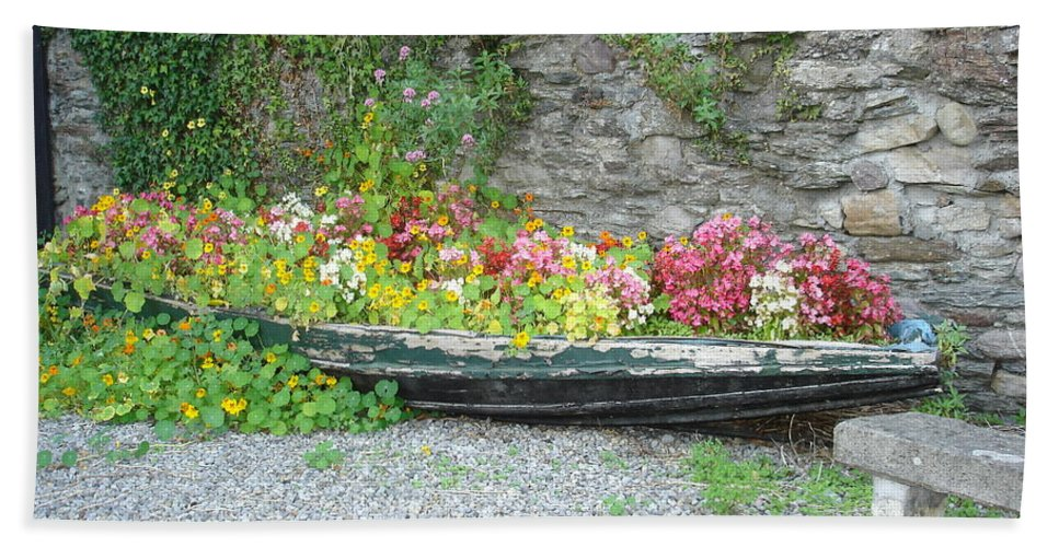 Inistioge Bath Sheet featuring the photograph Flowers Floating by Kelly Mezzapelle