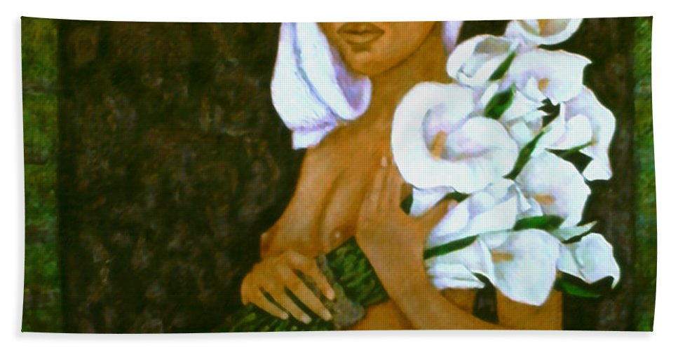 Love Bath Towel featuring the painting Flowers For An Old Love by Madalena Lobao-Tello