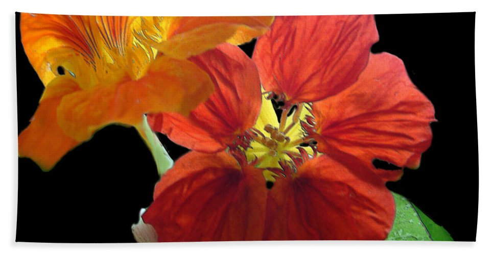 Nasturtiums Bath Towel featuring the painting Flowers For Ebie by RC deWinter