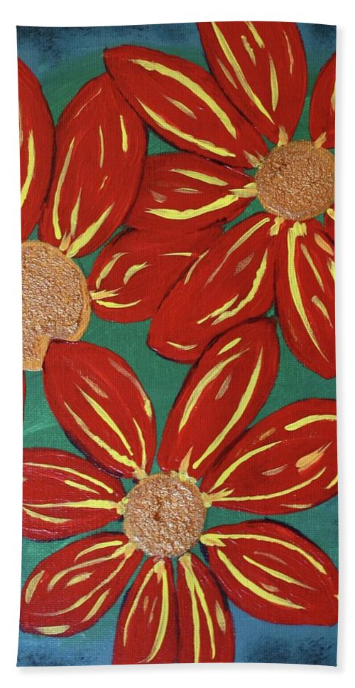 Flowers Hand Towel featuring the painting Flowers For M by Amy Craft