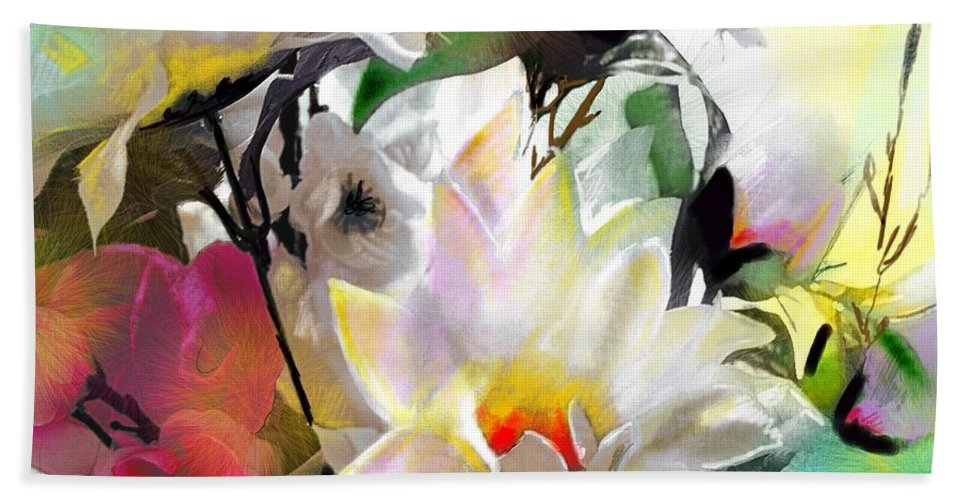 Flowers Painting Drawing Art Bath Towel featuring the painting Flowers For My Friend by Miki De Goodaboom