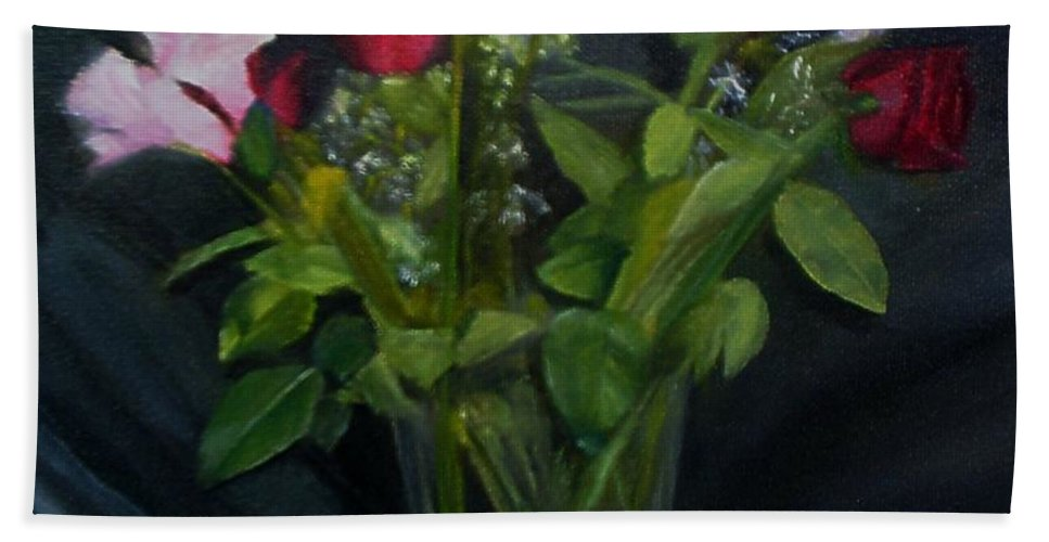 Flowers Bath Towel featuring the painting Flowers For Sarah by Sheila Mashaw