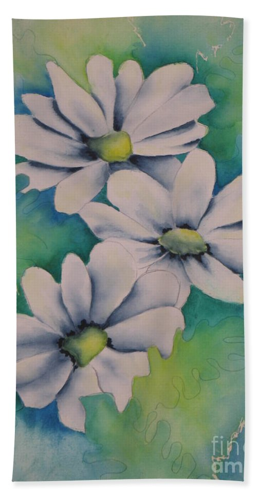 Fine Art Painting Bath Sheet featuring the painting Flowers For You by Chrisann Ellis