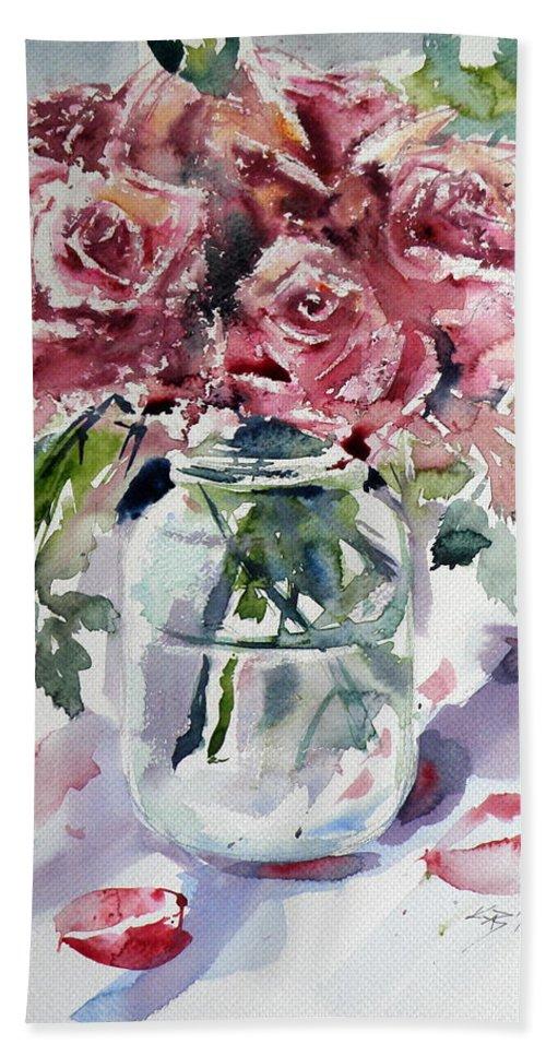 Flower Bath Sheet featuring the painting Flowers From The Garden by Kovacs Anna Brigitta