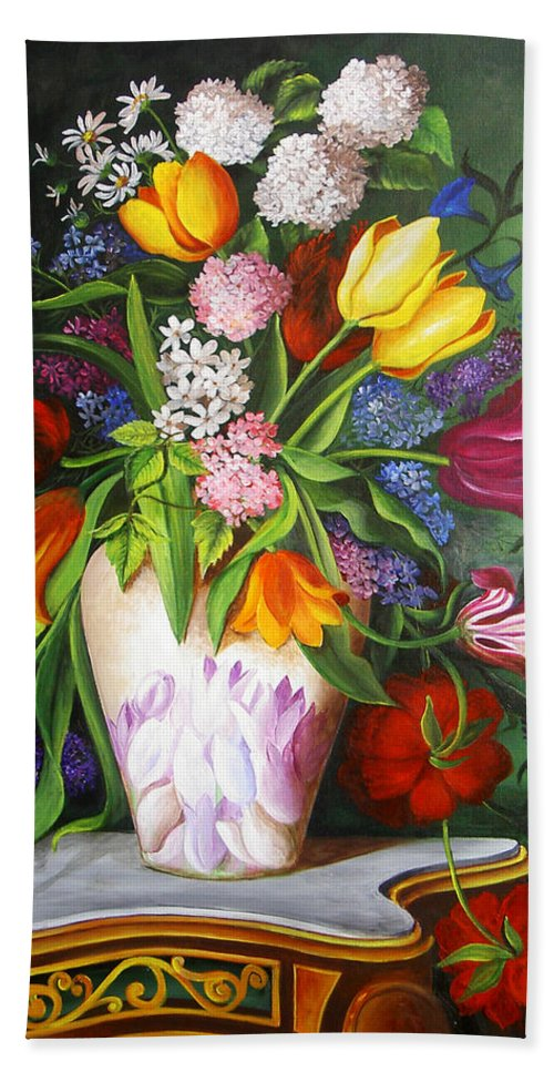 Flowers Hand Towel featuring the painting Flowers In A Vase by Dominica Alcantara