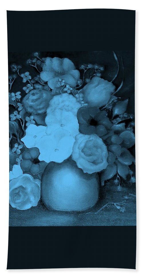 Blue Flowers Hand Towel featuring the painting Flowers In Blue by Jordana Sands