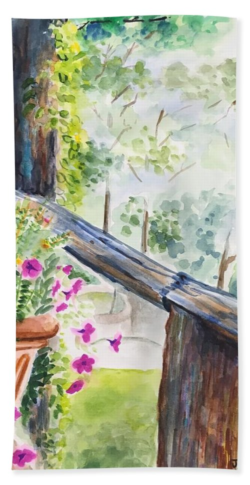 Flowers Bath Towel featuring the painting Flowers in Morning Mist by Judy Swerlick