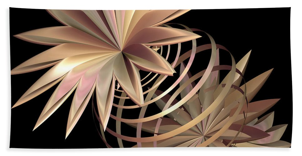 Fractal Hand Towel featuring the digital art Flowers In Pink by Deborah Benoit