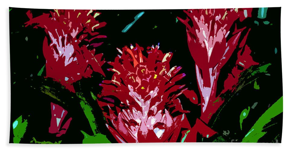 Red Bath Towel featuring the painting Flowers In Red by David Lee Thompson