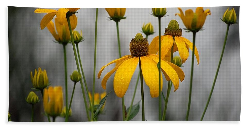 Flowers In The Rain Hand Towel featuring the photograph Flowers In The Rain by Robert Meanor