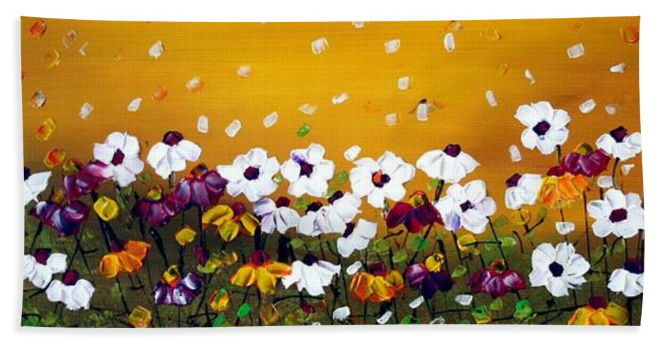 Flowers Hand Towel featuring the painting Flowers In The Sunset by Luiza Vizoli