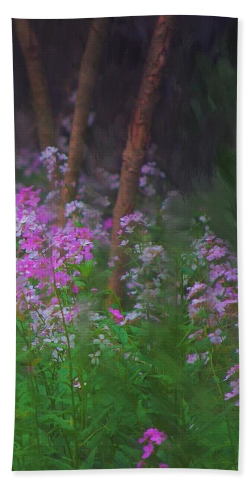 Landscape Bath Towel featuring the painting Flowers In The Woods by David Lane