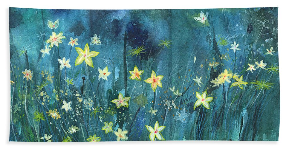Landscape Hand Towel featuring the painting Flowers N Breeze by Anil Nene