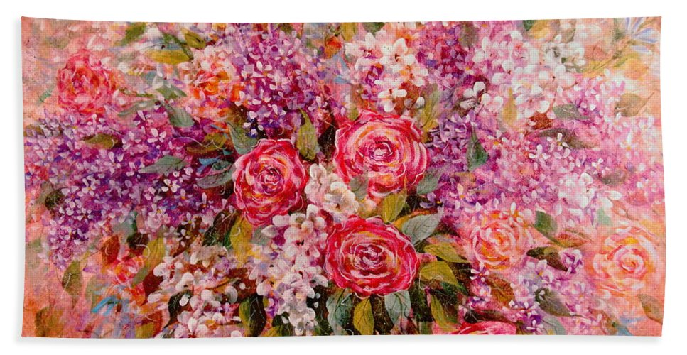 Romantic Flowers Bath Towel featuring the painting Flowers Of Romance by Natalie Holland