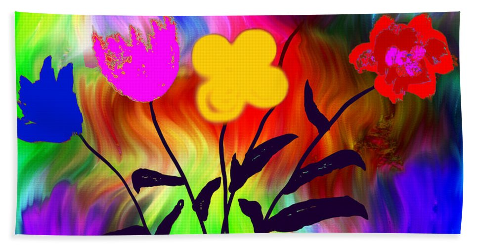 Flowers Bath Sheet featuring the digital art Flowers Of The I-magi-nation by Abstract Angel Artist Stephen K