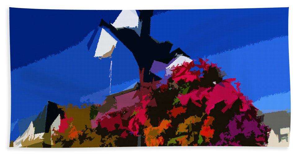 Flowers Hand Towel featuring the painting Flowers On Lamppost by David Lee Thompson