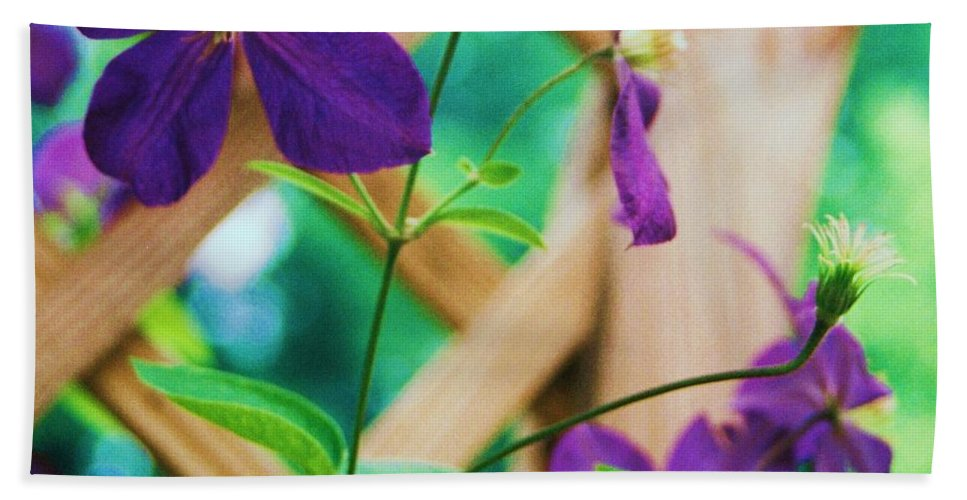 Floral Bath Sheet featuring the painting Flowers Purple by Eric Schiabor