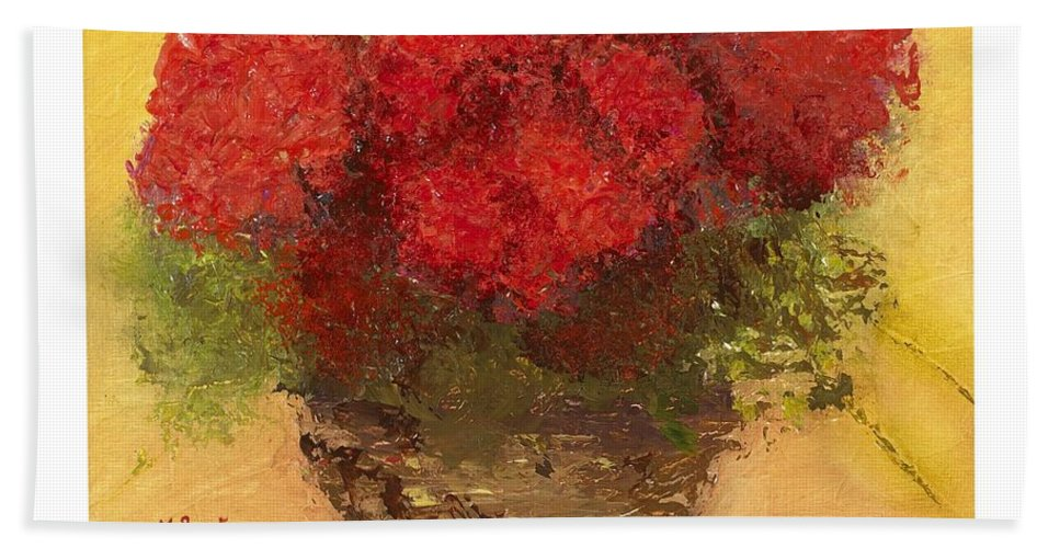 Still Life Hand Towel featuring the mixed media Flowers Red by Marlene Book