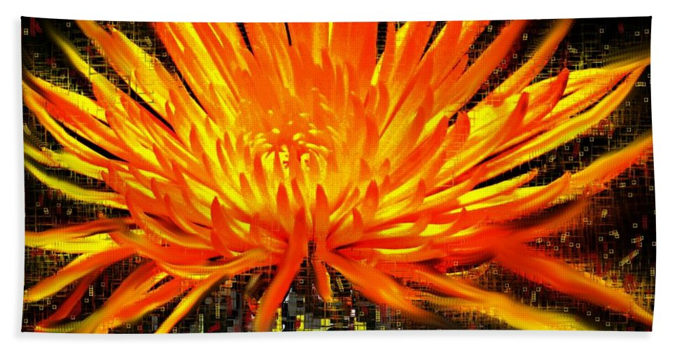 Abstract Hand Towel featuring the digital art Flowersquared by Ian MacDonald