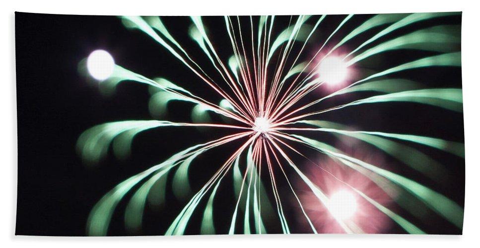 Fireworks Bath Sheet featuring the photograph Flowerworks #20 by Sandy Swanson