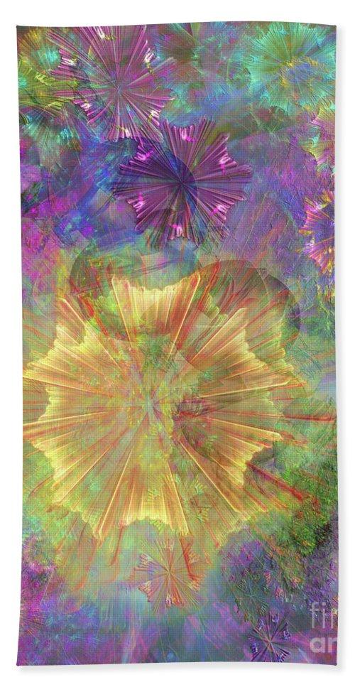 Flowerworks Hand Towel featuring the digital art Flowerworks by John Beck