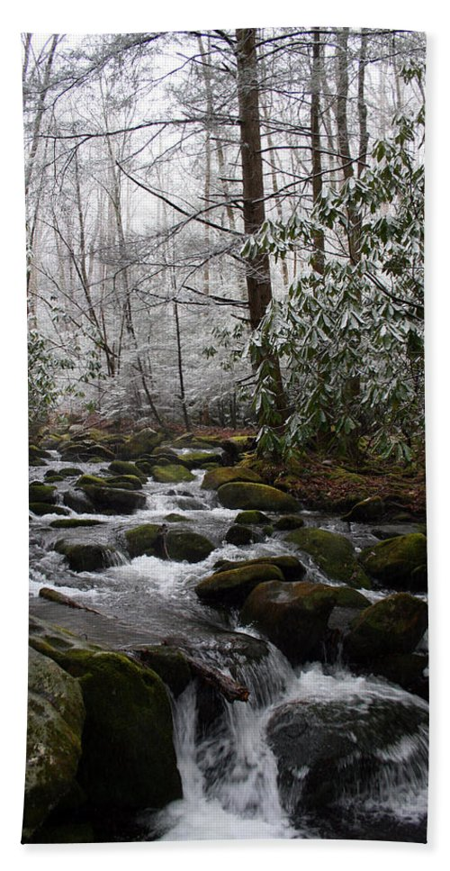 Park Winter Snow White Water Stream Creek Flow River Rock Boulder Tree Green Rush Cold National Hand Towel featuring the photograph Flowing by Andrei Shliakhau