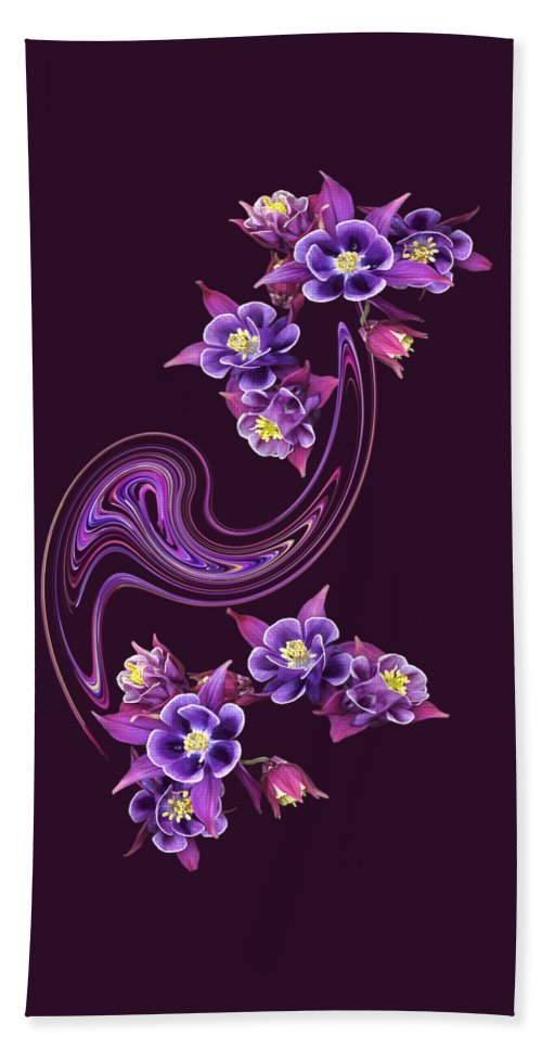 Aquilegia Hand Towel featuring the photograph Flowing Purple Velvet 2 by Gill Billington