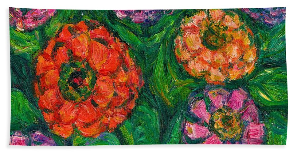 Flowers Hand Towel featuring the painting Flowing Zinnias by Kendall Kessler