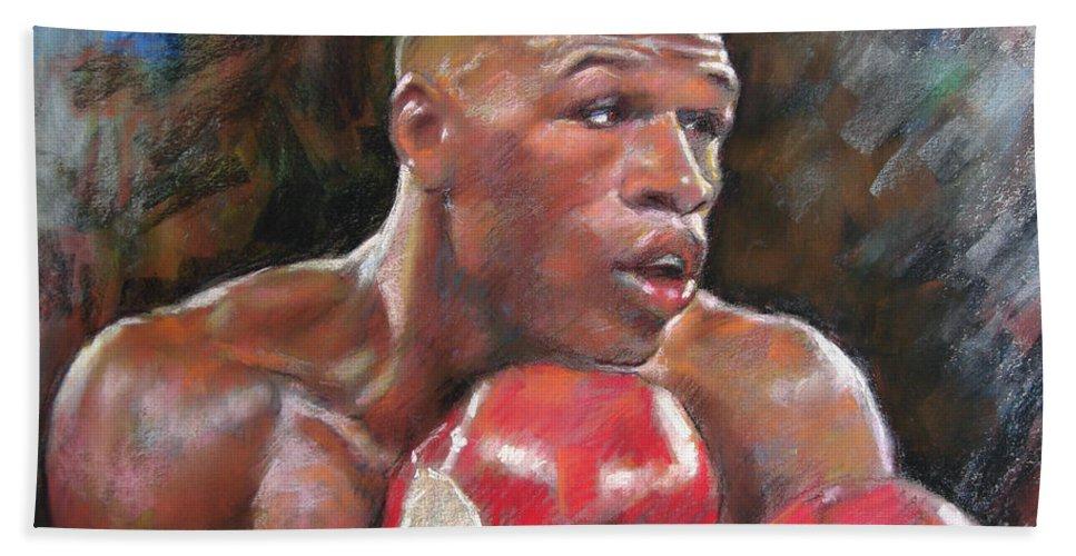 Floyd Mayweather Jr. Hand Towel featuring the pastel Floyd Mayweather Jr by Ylli Haruni