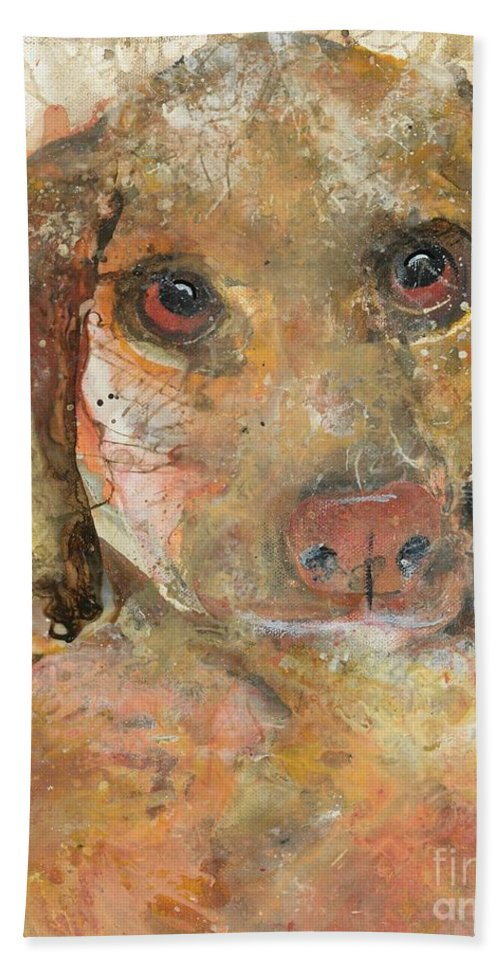 Dog Hand Towel featuring the painting Fluffernutter by Kasha Ritter